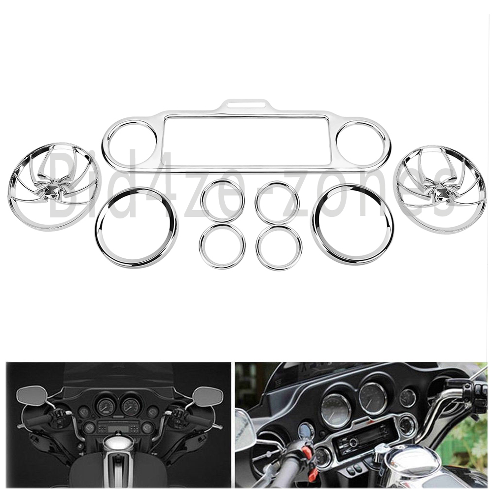 9 PC Chrome Stereo Accent Speedometer Speaker Trim Ring for Harley Ultra Classic
