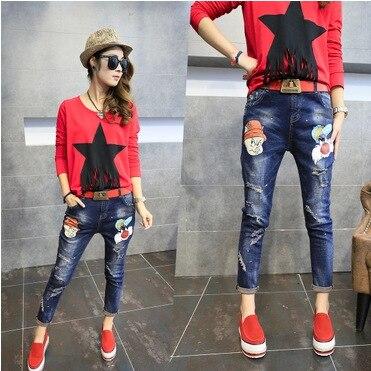2016 new spring feet jeans female Korean women skinny pants pants female cartoon Haren