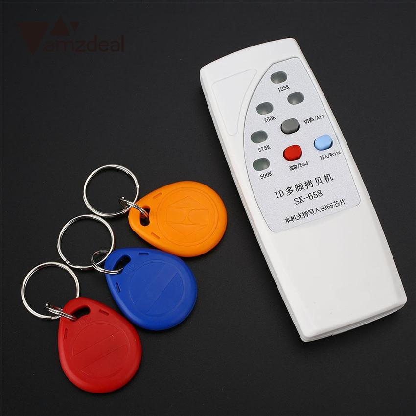 amzdeal 125KHz 250KHz 375KHz 500KHz RFID Handheld ID Door Access Card Copier Writer Duplicator Cloner With 3 Writable Cards
