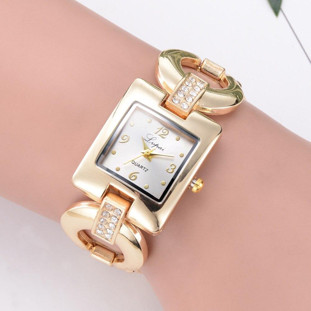 Lvpai Luxury Quartz Wrist Women's Watch Crystal Diamond Bracelet Reloj Hombre Square Digital Dial Stainless Steel Band Clock B30