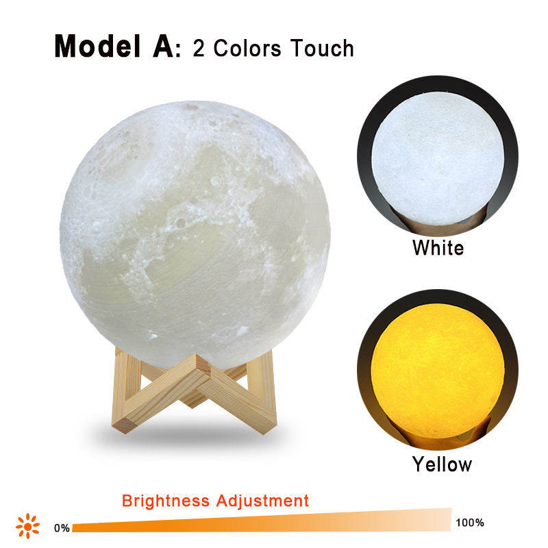 Dropship 3D Print Moon Lamp 20cm 18cm 15cm Colorful Change Touch USB Led Night Light Home Decor Creative Gift 2