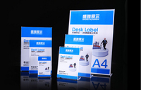 A4 L Advertising Tag Sign Card Display Stand Acrylic Table Desk Menu Price Label Holder Stand