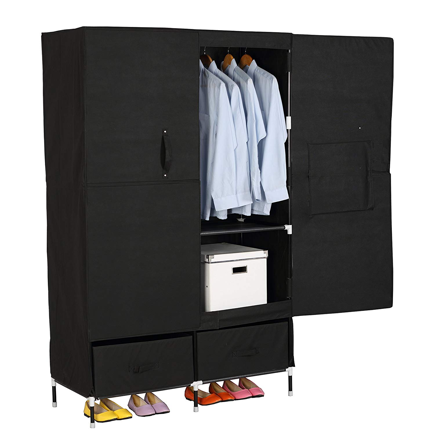 Portable Clothes Closet Wardrobe Storage With 2 Drawer Cloth Organizer With Magnet Doors Steel Shoe Rack 6 Shelves