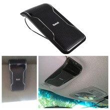 Nueva negro inalámbrica bluetooth manos libres car kit manos libres parasol clip 10 m distancia para iphone smartphones con cargador de coche