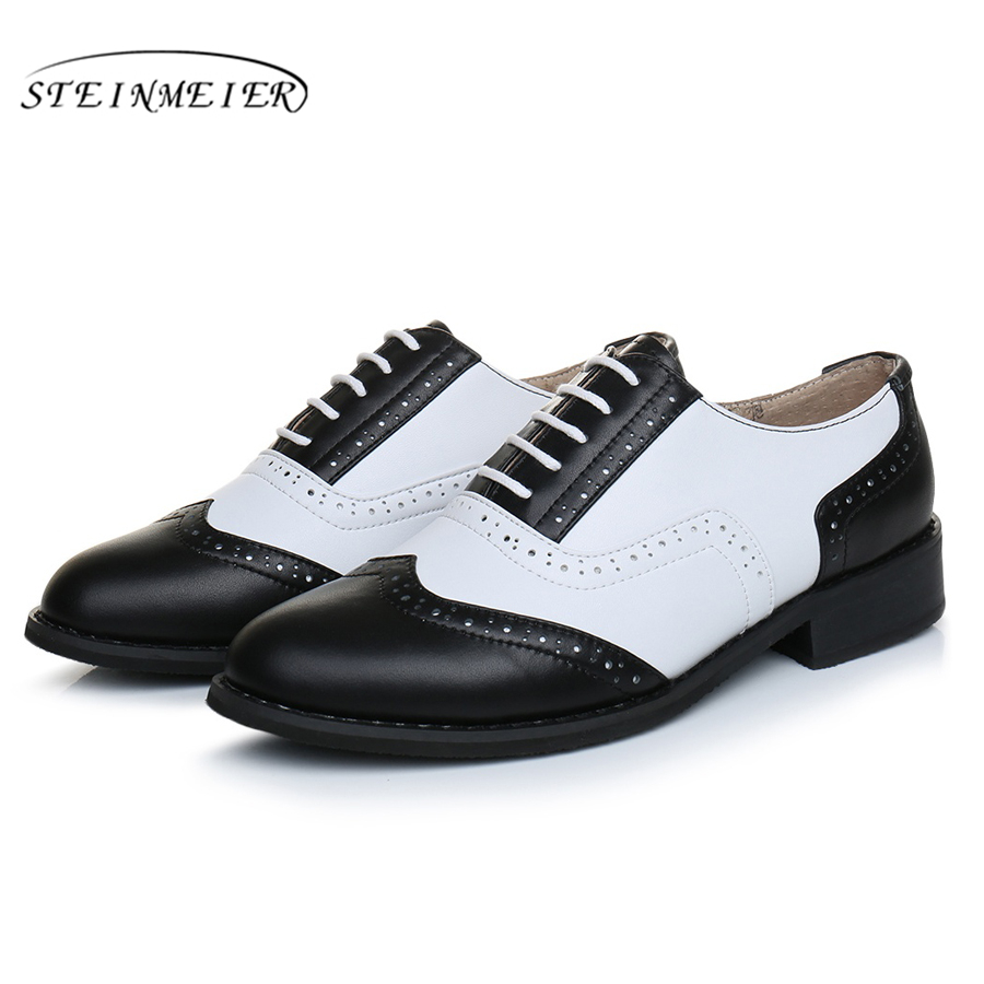 Genuine leather big shoes women US size 11 handmade flat black white 2019 vintage British style oxford shoes for women with fur-in Women's Flats from Shoes    3