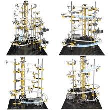 Poziom 1 2 3 4 DIY Space Rail kolejka górka zestaw klocków zabawki Spacerail Rollercoaster marmur Run Maze Ball Track Toy prezent