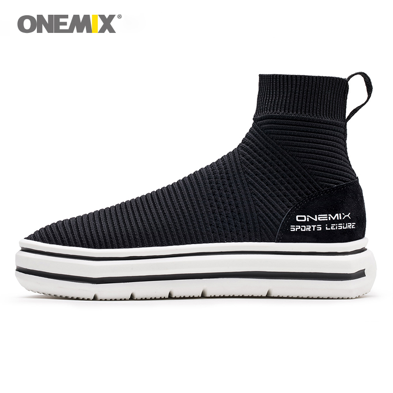 Onemix height increasing high shoes lifestyle knit sock ankle boots for men walking trekking sneakers autumn winter black