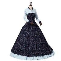 Civil War Victorian Floral Print Spring Prairie Dress Gown Theater Clothing