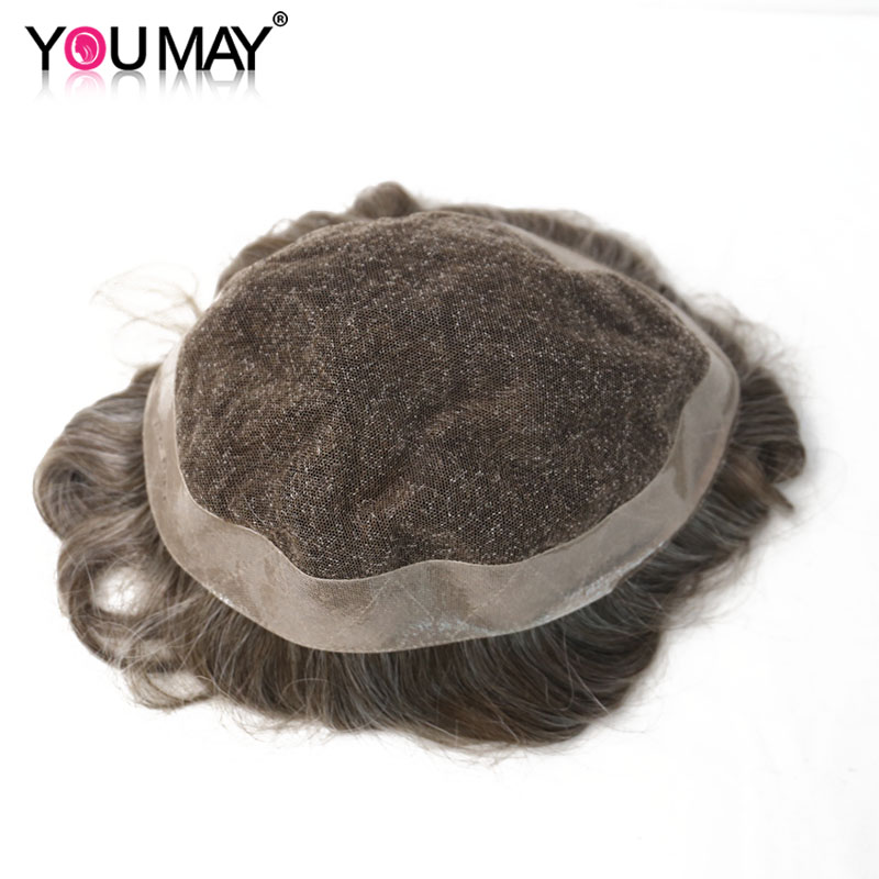 Men Toupee Durable Replacement Lace & PU Human Remy Hair For Men Wig Natural Looking  8X10 Toupee Men Lace Color #440 You May
