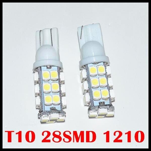 Free Shipping Wholesale 50pcsT10 28led light Car light w5w led light w5w 28Smd Led 1206 3528smd Wedge Light Bulb Lamp 12v
