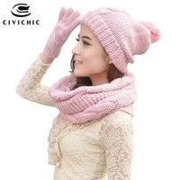 CIVICHIC Hot Fashion Woman Knit Scarf Hat Gloves 3 Piece Set Lovely Crochet Pompon Beanies Twist