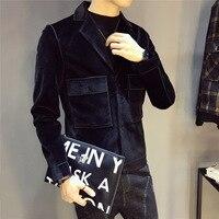 Black jacket men's short coat multi pocket slimming top