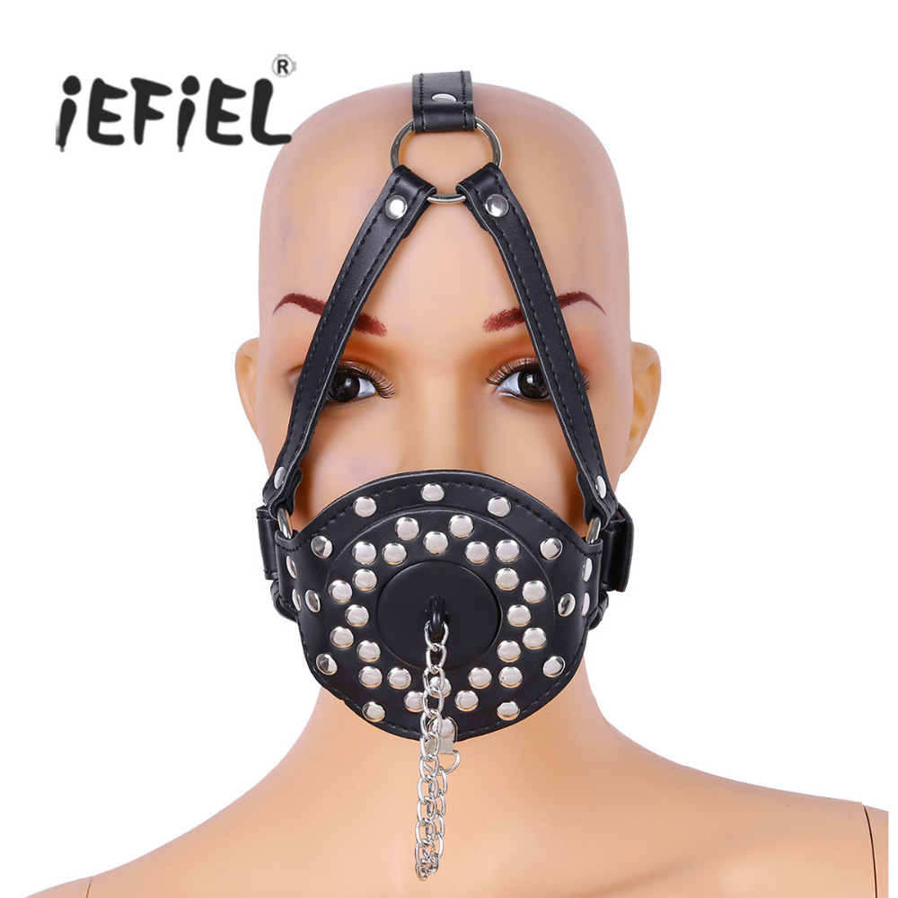 Adjustable Leather Rivet Studded O Ring Mouth Gag Gagged Plug with Cover Buckled Lockable Head Harness for Adult Woman