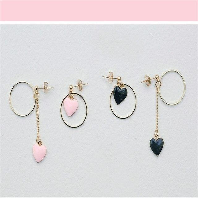 XQ2017 бесплатная доставка модная женщина новые ювелирные изделия Прекрасный молодые девушки любят форме сердца мед девушка асимметричная серьги Ювелирные Изделия