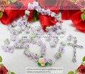 1pcs/set Handmade catholic Rosary necklace beautiful violet Soft Cerami beads rose rosary catholic crucifix Necklace free ship