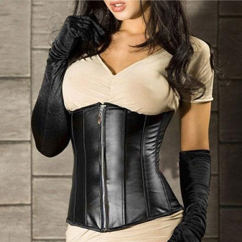 Fashion black gothic faux leather zipper   bustier   boned underbust   corset   steampunk training waist cincher corselet size S-2xl