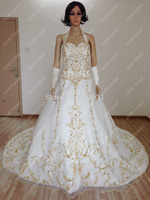 Hot Sale Elegance Satin Gold Embroidered Halter Wedding Dress With Royal Train 2014