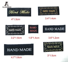 Free shipping 100 Pcs/lot Hand made woven Labels Clothing Shoes Bags Woven Washable Cotton Garment Tags DIY tags