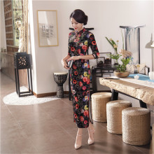 YZ Chinese Traditional Women Velvet Long Dress Novelty Print Flower Sexy Qipao Vintage Mandarin Collar Slim Cheongsam M-3XL