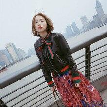Женская куртка из натуральной кожи, женская короткая черная Женская куртка, осенне-зимняя куртка на молнии с длинным рукавом и бантом из натуральной овечьей кожи, пальто