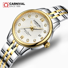 CARNIVAL Fashion Synthetic Sapphire Women Watch TopBrand Luxury Brand Ladies Watch Gold-Plated Diamond Inlaid Steel relogio