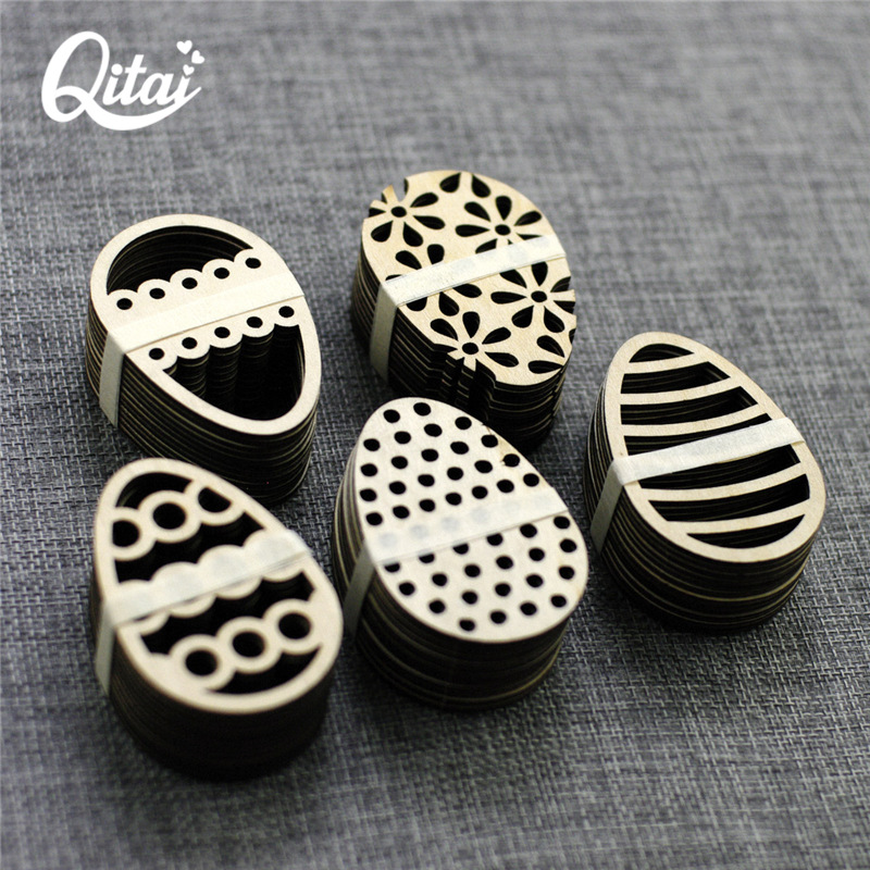 QITAI 60Pieces/lot 5 lovely Easter Eggs DIY Scrapbooking Products crafts nature wooden veneer shape the home decoration WF038 3