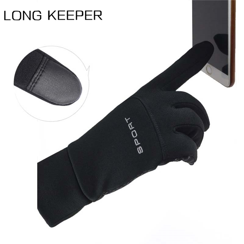 Men Full Finger Touch Screen Gloves Autumn Winter Plus Velvet Warm Windproof Mitten Motorcycle Cycling Sports Non-slip Luvas
