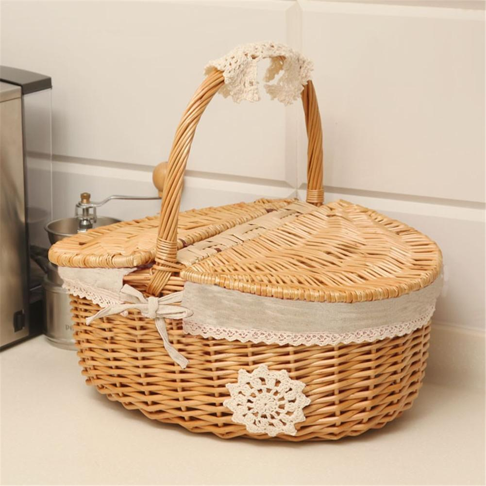 Us 11 03 31 Off Picnic Wicker Basket Fruit Rattan Storage Box Snacks Tea Willow And Cloth Wooden Color Baskets With Lid In