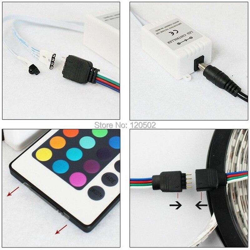 5 м 3528 без Водонепроницаемый SMD Светодиодные ленты 300 светодиодов 5 м 3528 RGB LED контроллер 24 клавиш + 12V2A Мощность адаптер - 4