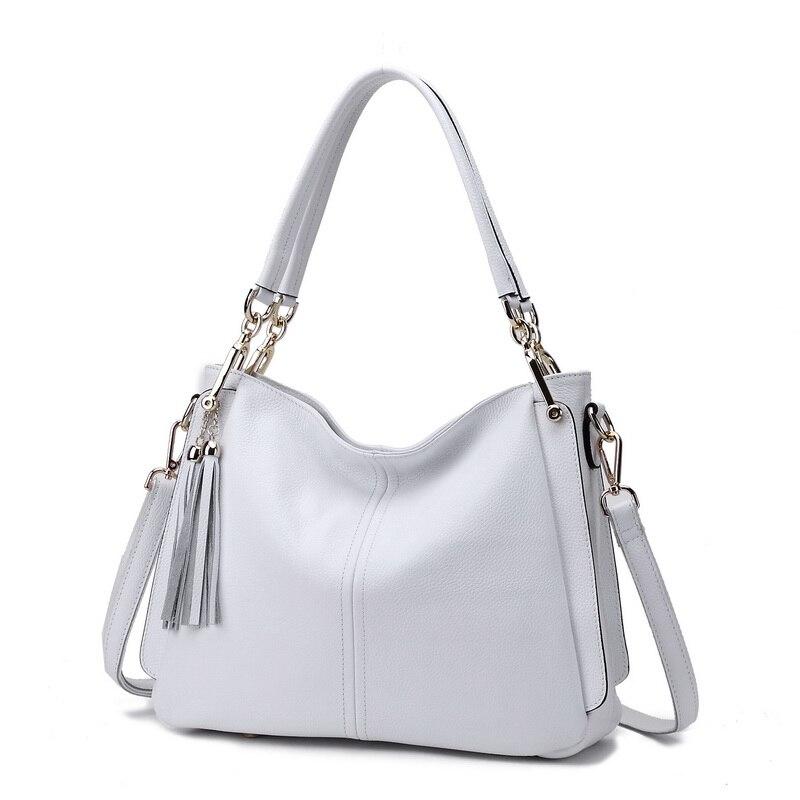 ZENCY 100% Genuine Cow Leather Women's Tassels Shoulder Bag Long Strap Handbag Cross Body Messenger White Bags Satchel Bolsa