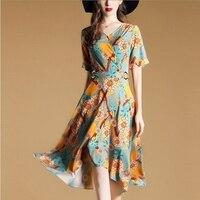 1Print Flower Women Tunic Dress 2017 Summer Female Casual High Waist Quality Cotton Blend Dress Europe