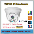 1.0MP frete Grátis 1280X720 P 2 pcs Matriz de LED HD IP IR Câmera Dome CCTV Visão Noturna Infravermelha Câmera IP