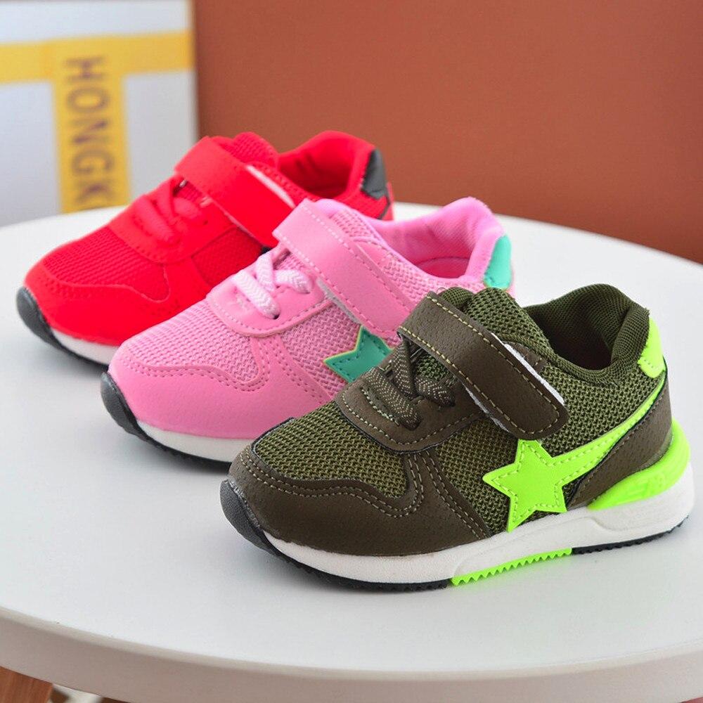 Дети Обувь Спорт Бег Обувь для младенцев для Обувь для мальчиков Обувь для девочек Звезда Сетка Обувь Спортивная обувь детская обувь