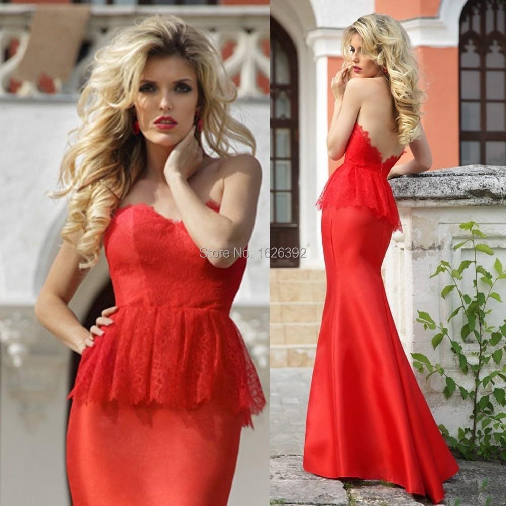 Red Peplum Satin Floor Length Mermaid Dress Evening Night Sweetheart ...