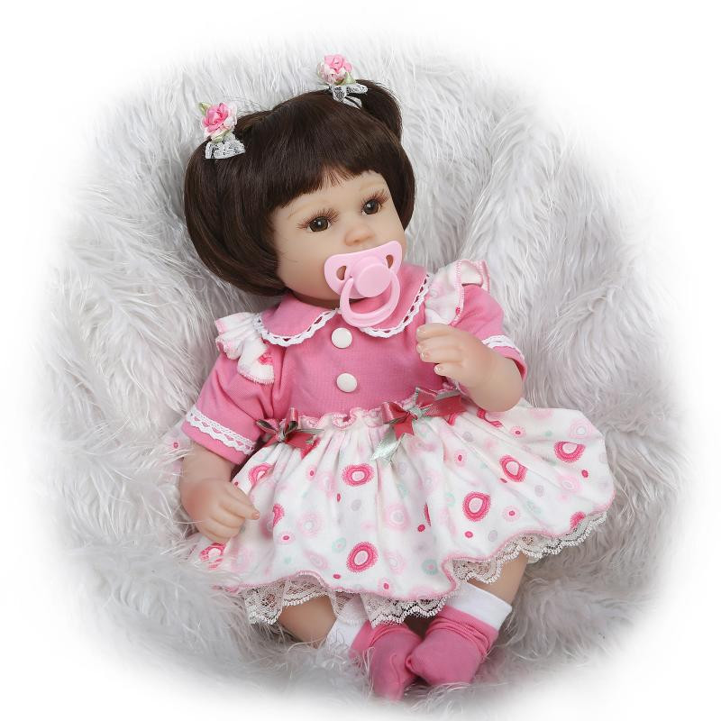 ФОТО 17inch Mini-Baby-Reborn Doll With Beautiful Baby Doll Dress Most Hot Sell In Silicone Lifelike Baby Doll Market As Birthday Gift