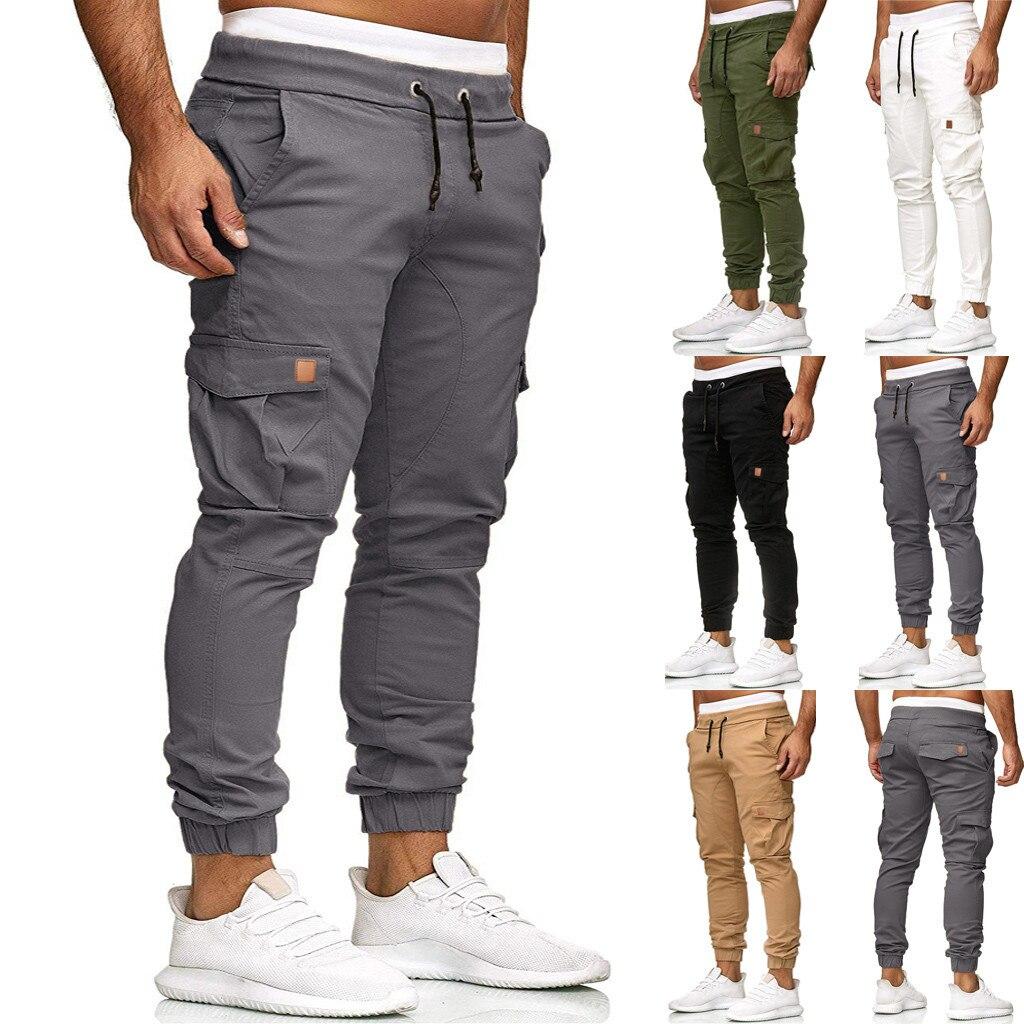 Men Sweatpants Slacks Casual Elastic Leggings Sport Solid Baggy Pockets Trousers Pantalones Hombre Streetwear Joggers Sweatpants