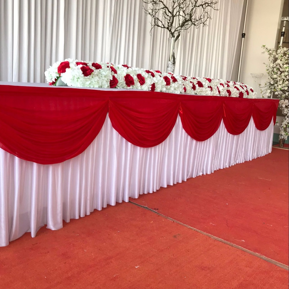 Free Shipping Ice Silk Valance Table Skirt Colorful Table Skirtting With  Swag Pleated Ruched Table Skirt For Wedding Decor In Table Skirts From Home  ...