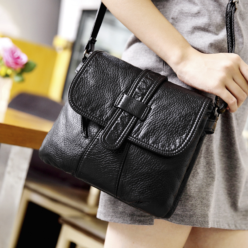Soft leather Women Messenger bag casual women's shoulder Crossbody bag female handbag Black bolsa feminina girl bag Sac a Main new fashion women girl student fresh patent leather messenger satchel crossbody shoulder bag handbag floral cover soft specail
