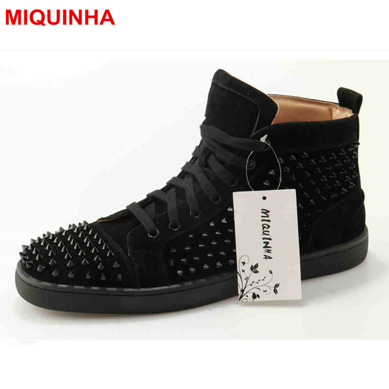 MIQUINHA High Top Lace Up Men Casual Shoes Rivets Embellished Cool Fashion Lover Shoes Luxury Brand Design Big Size Men Flats 2016 hot men s high top canvas shoes lace up men british fashion casual shoes adults denim cool student