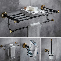 Copper bathroom hardware kit black gold brushed towel rack towel ring European style ceramic tooth cup holder
