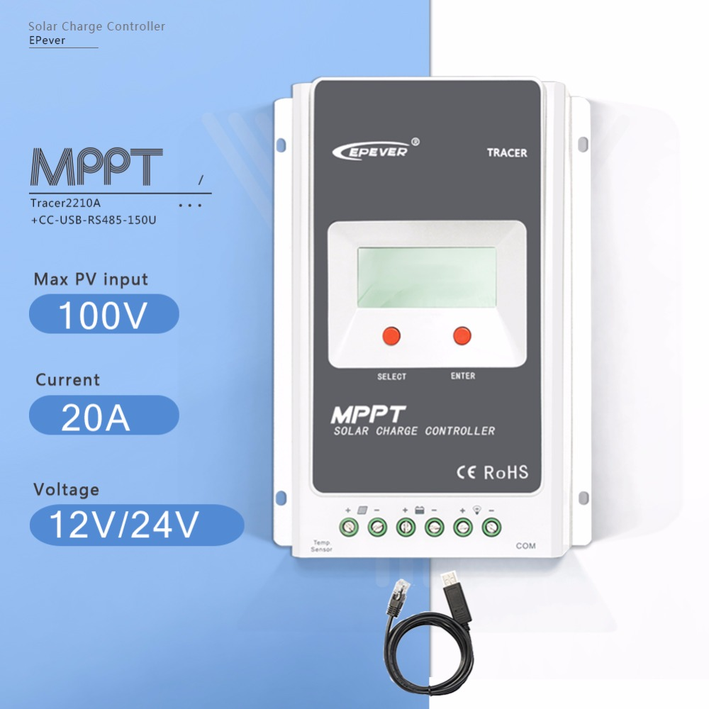 MPPT 20A Tracer 2210A Solar Charge Controller 12V/24V Auto LCD Display Light and Time Controller PV Regulator with USB Cable 10a mppt solar charge controller remote meter mt50 epever battery regulator 100v pv input 12v 24vdc auto with lcd display