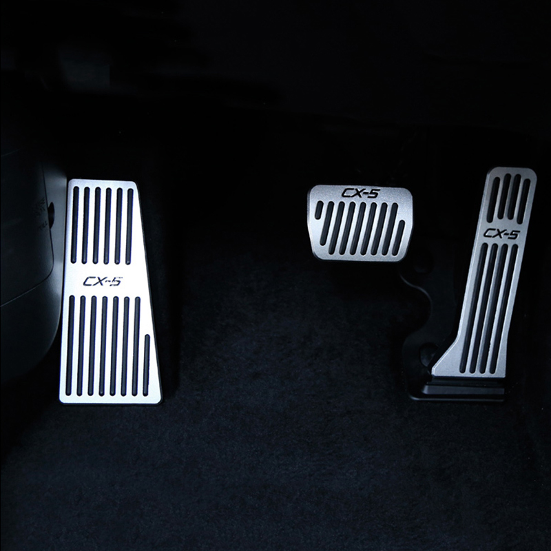 Aluminum Alloy Car Accelerator Gas Pedal Brake Pedals Footrest Plate Cover AT For Mazda CX5 <font><b>CX</b></font> <font><b>5</b></font> <font><b>CX</b></font>-<font><b>5</b></font> 2013 2014 2015-2017 <font><b>2018</b></font> image