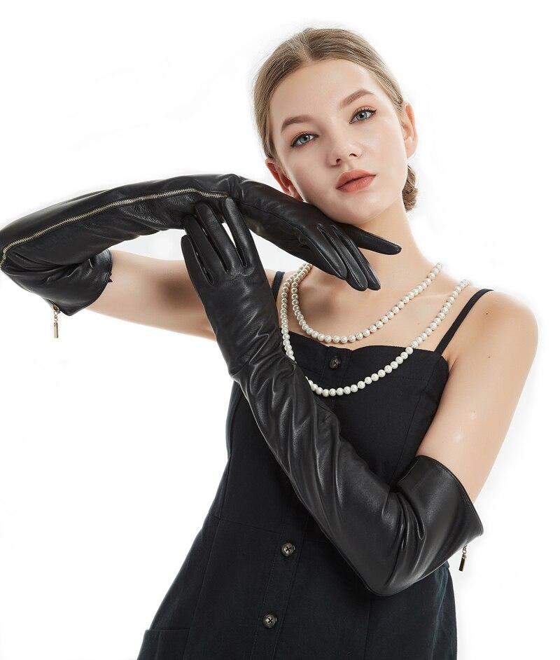 60 см (23,6 ) длинные открытые длинные кожаные длинные оперные перчатки черного цвета на молнии - 3