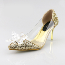 Plus Size Cinderella Shoes Low Heels Ladies Pumps Women Wedding Party Shoes Thin Heel Rhinestone Butterfly Crystal Dress Shoes