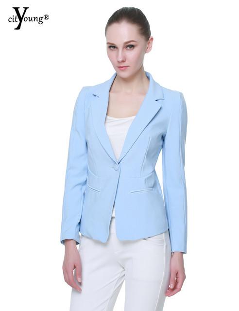 2016 Moda Doces Cor Blazer Mulheres Lapela Único Botão Paletó Cardigan Plus Size XS-XL Blazer Feminino YMW-133
