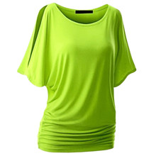 LAAMEI Solid O-Neck Cotton Blend Summer Tee Tops Batwing Sleeve Shirts Top Brand T Shirt Women Female Plus Size Casual Shirts(China)