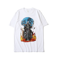 White T Shirt Men Tee Tops Streetwear Tshirt Skull Print Hip Hop T shirt