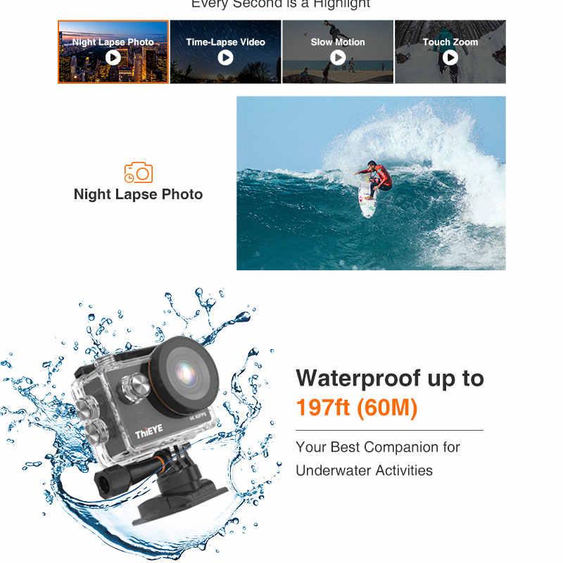 Thieye T5 Pro WiFi Action Camera Ultra HD 4K 60fps Layar Sentuh Intuitif dan Cepat Kontrol IP68 Tahan Air kamera