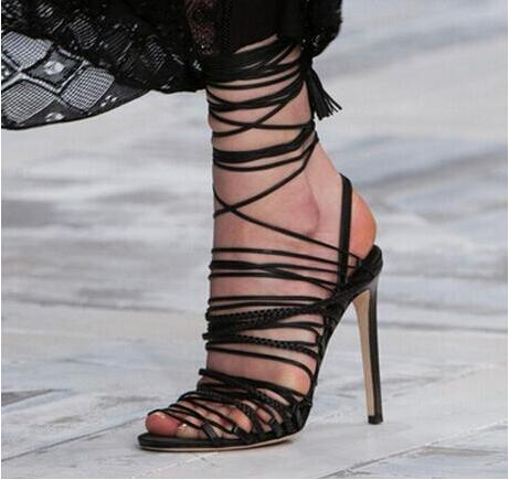 Фото New Sandal Hot selling High Quality Fashion Lace-up High Heel Ankle Tassel Dress Women Shoes Concise Cut-out Cheap Price