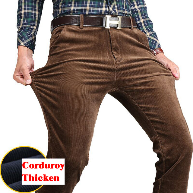 Новые осень зима мужская повседневная брюки толстые теплые высокое качество вельветовые брюки бизнес свободные прямые брюки мужчины плюс размер 44